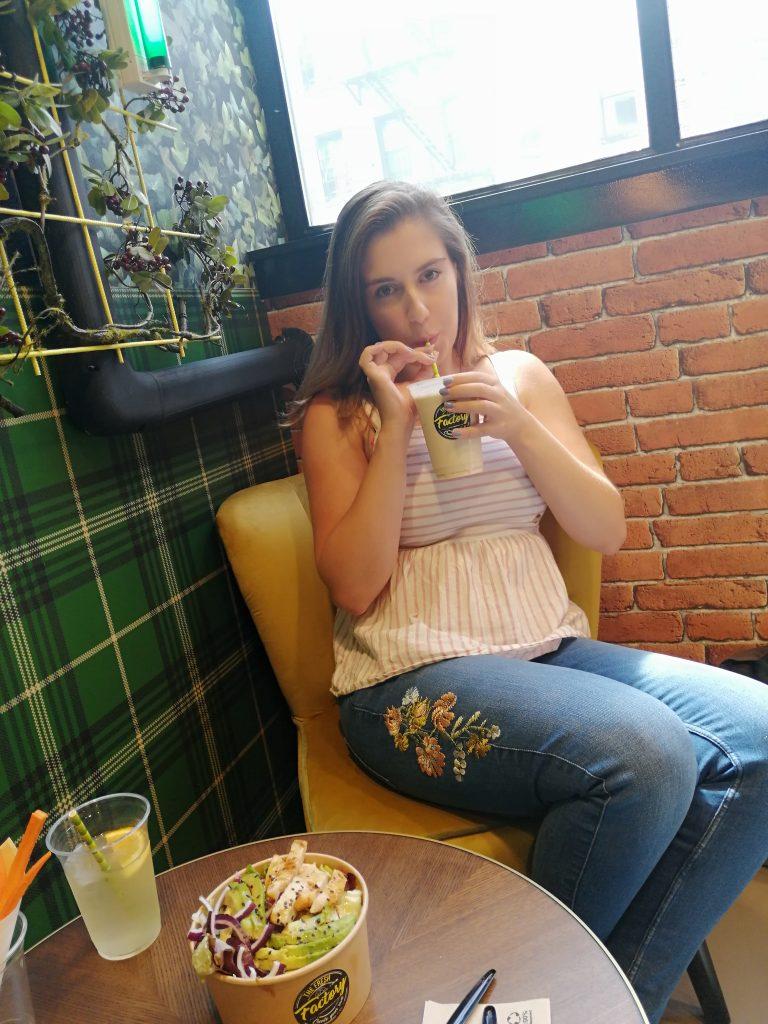 girl in salad bar